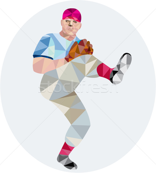 Baseball Pitcher Outfielder Throw Leg Up Low Polygon Stock photo © patrimonio