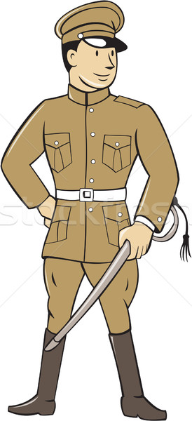 World War One British Officer Sword Standing Cartoon  Stock photo © patrimonio