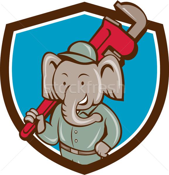 Elefánt vízvezetékszerelő majom franciakulcs címer rajz Stock fotó © patrimonio