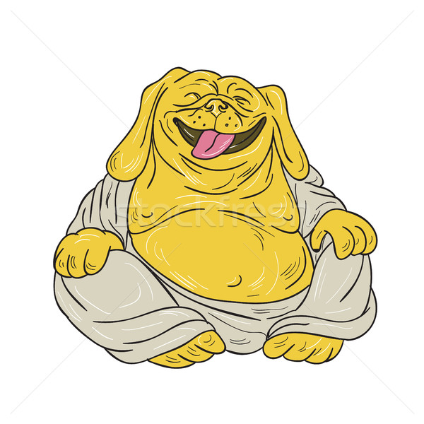 Lachend bulldog buddha vergadering cartoon illustratie Stockfoto © patrimonio