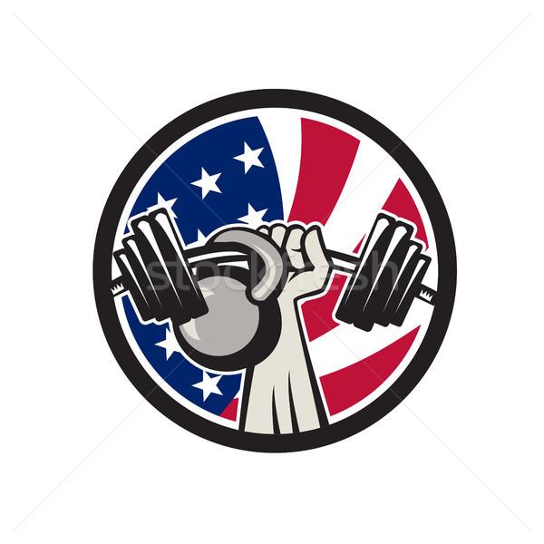 ストックフォト: アメリカン · 手 · バーベル · ケトルベル · 米国 · フラグ
