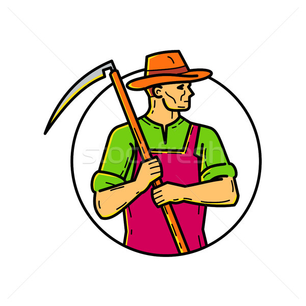 Organic Farmer Scythe Mono Line Art Stock photo © patrimonio