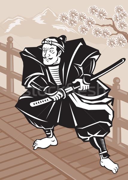 Japonês samurai guerreiro espada ponte ilustração Foto stock © patrimonio