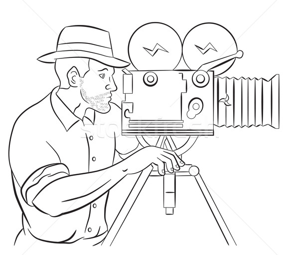 Cameraman vintage movie film camera shooting  Stock photo © patrimonio