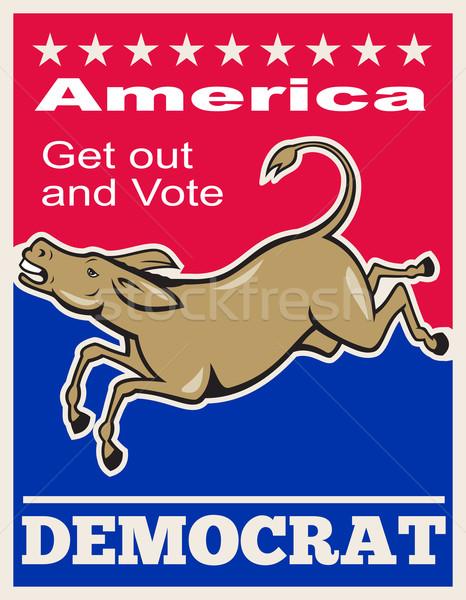 Demokrat Esel Maskottchen america Abstimmung Plakat Stock foto © patrimonio