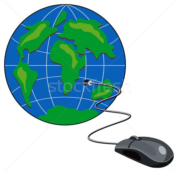 Компьютерная мышь мира ретро иллюстрация ретро-стиле Сток-фото © patrimonio