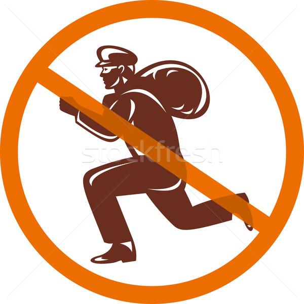 Sign of no burglar thief running with loot Stock photo © patrimonio