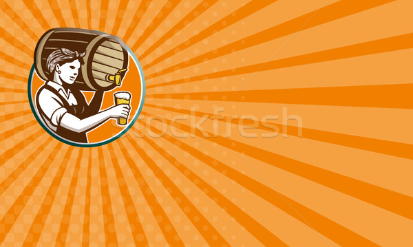 Woman Bartender Pouring Keg Barrel Beer Retro Stock photo © patrimonio