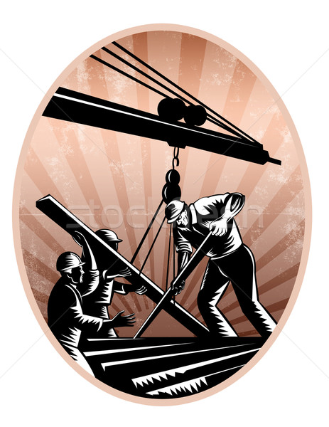 Construction Workers Woodcut Retro Stock photo © patrimonio