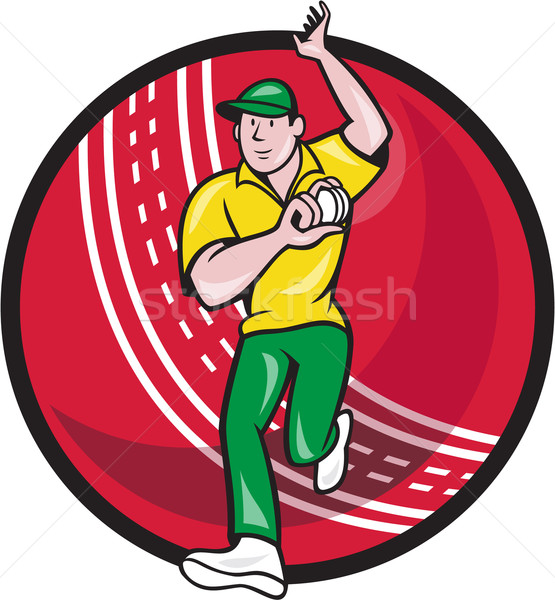 Cricket Fast Bowler Bowling Ball Front Cartoon Stock photo © patrimonio