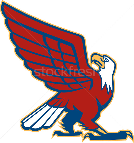 лысые орел вид сбоку ретро иллюстрация Сток-фото © patrimonio