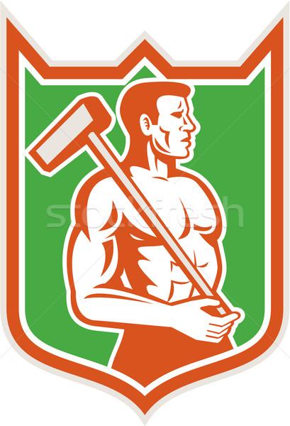 Union Worker With Sledgehammer Shield Retro Stock photo © patrimonio