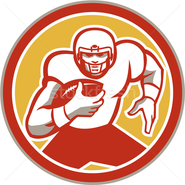 American Football Running Ball Circle Retro Stock photo © patrimonio
