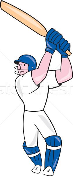 Cricket Player Batsman Batting Cartoon Stock photo © patrimonio