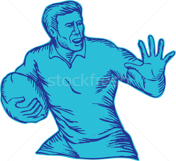 Rugby Player Running Fending Etching Stock photo © patrimonio
