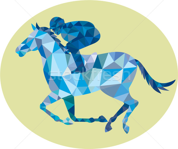Jockey Horse Racing Oval Low Polygon Stock photo © patrimonio