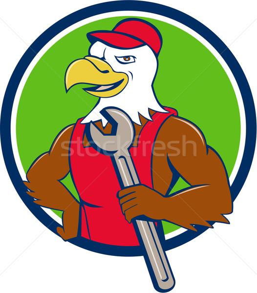 Amerikaanse kaal adelaar monteur moersleutel cirkel Stockfoto © patrimonio