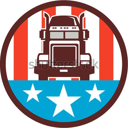 Vrachtwagen sterren kuif retro illustratie ingesteld Stockfoto © patrimonio