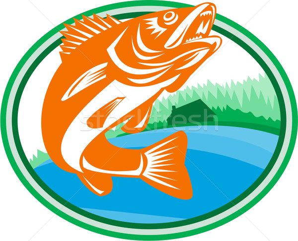 Walleye Fish Lake Cabin Oval Retro Stock photo © patrimonio