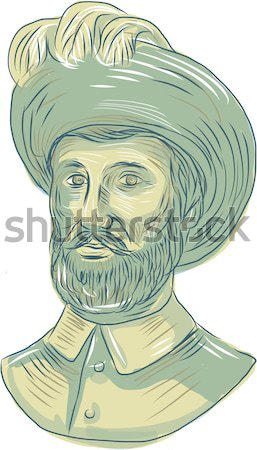 Stock photo: Vasco da Gama Explorer Bust Drawing