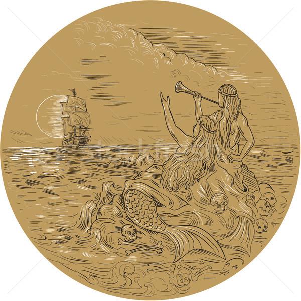 Siren On Island Waving Calling Tall Ship Circle Drawing Stock photo © patrimonio