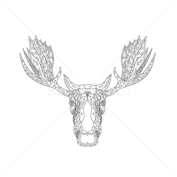 Bull Moose Head Doodle Stock photo © patrimonio