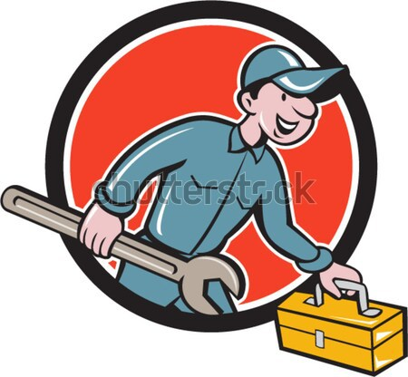 Aircon Technician Running Cartoon Stock photo © patrimonio