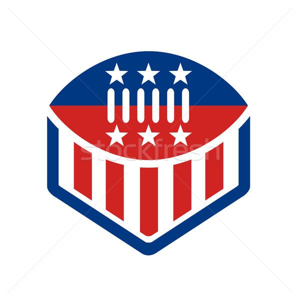 Football USA pavillon crête icône Photo stock © patrimonio