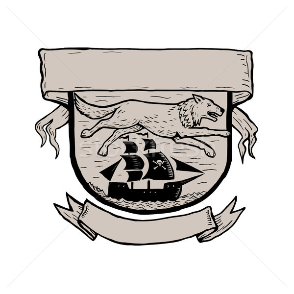 Wolf Running Over Pirate Ship Crest Scratchboard  Stock photo © patrimonio