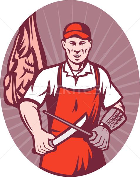 Mięsa rzeźnik nóż temperówka ilustracja w stylu retro Zdjęcia stock © patrimonio