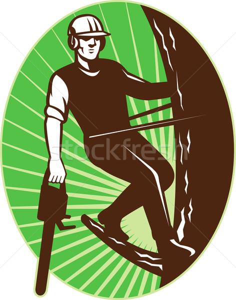 arborist tree surgeon chainsaw retro Stock photo © patrimonio