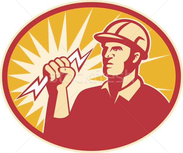 Electrician Power Line Worker Lightning Bolt Stock photo © patrimonio