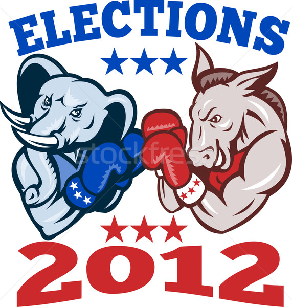 Demokrat eşek cumhuriyetçi fil maskot 2012 Stok fotoğraf © patrimonio