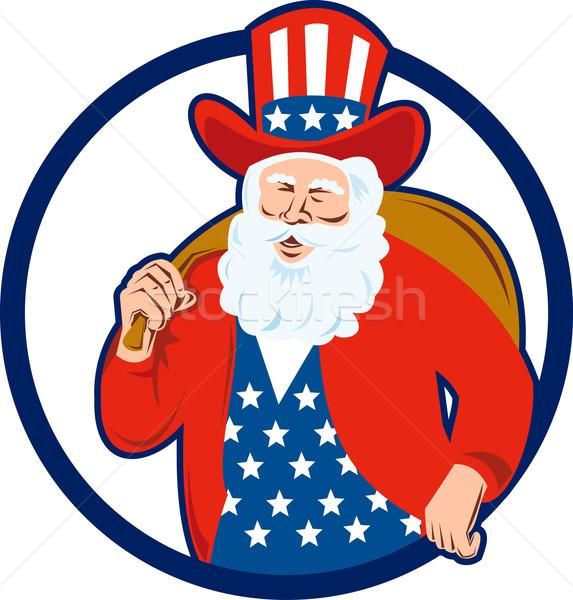 Amerikai apa karácsony mikulás retró stílus illusztráció Stock fotó © patrimonio