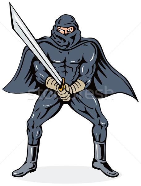 Stockfoto: Ninja · zwaard · illustratie · schurk · geïsoleerd