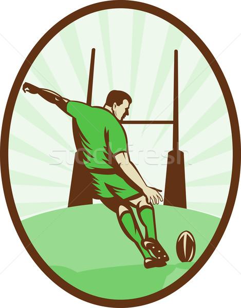 Rugby player kicking ball at goal post  Stock photo © patrimonio