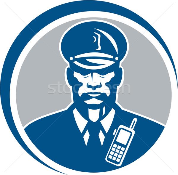 Güvenlik görevlisi polis memuru radyo daire örnek polis Stok fotoğraf © patrimonio