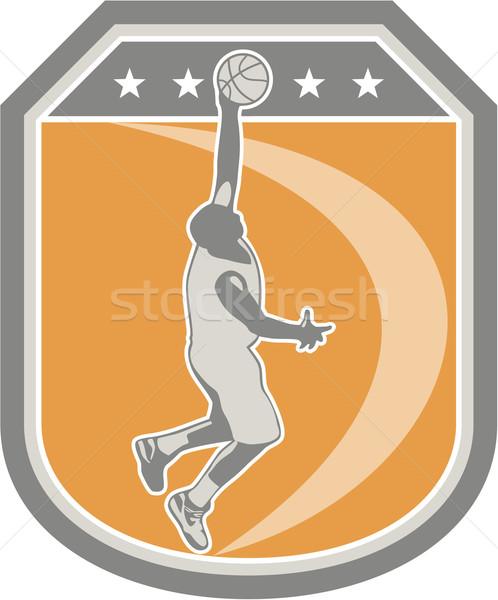Basketball Player Rebounding Ball Shield Retro Stock photo © patrimonio
