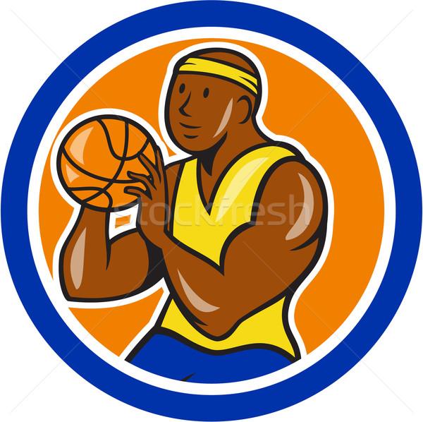 African-American Basketball Player Shooting Cartoon Circle Stock photo © patrimonio
