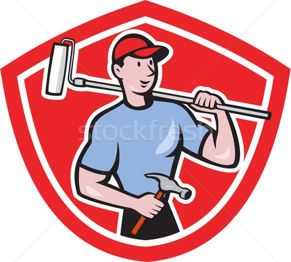House Painter Paint Roller Shield Cartoon Stock photo © patrimonio