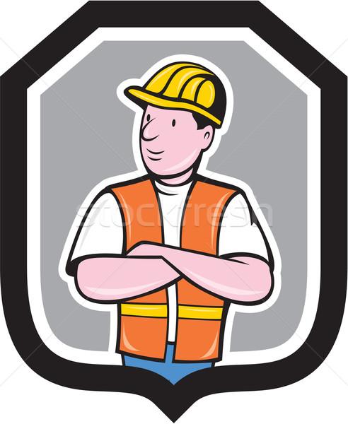 Construction Worker Arms Crossed Shield Cartoon Stock photo © patrimonio
