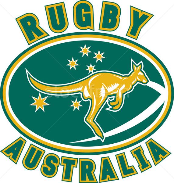 Rögbi Ausztrália kenguru illusztráció ugrik oldalnézet Stock fotó © patrimonio