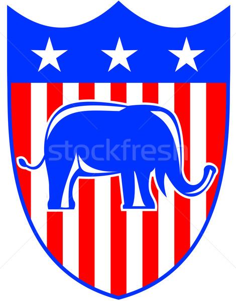 Republikański tarcza 3D gwiazdki ilustracja Zdjęcia stock © patrimonio