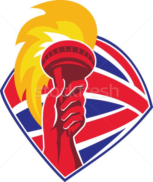 Mão chamejante tocha bandeira retro ilustração Foto stock © patrimonio