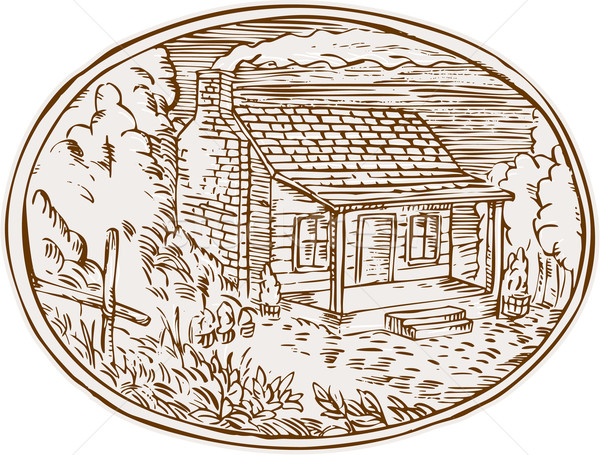 Log Cabin Farm House Oval Etching Stock photo © patrimonio