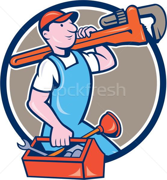 Plumber Carrying Monkey Wrench Toolbox Circle  Stock photo © patrimonio