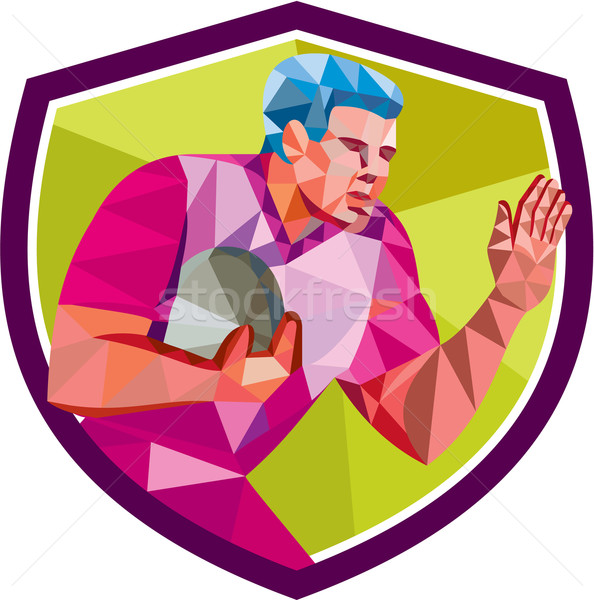 Rugby Player Fend Off Low Polygon Stock photo © patrimonio