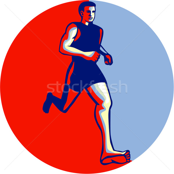 Barefoot Runner Running Front Circle Stock photo © patrimonio
