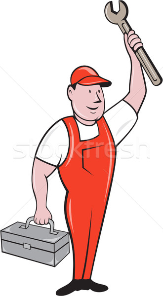 Mechanic Raising Wrench Holding Toolbox Cartoon Stock photo © patrimonio