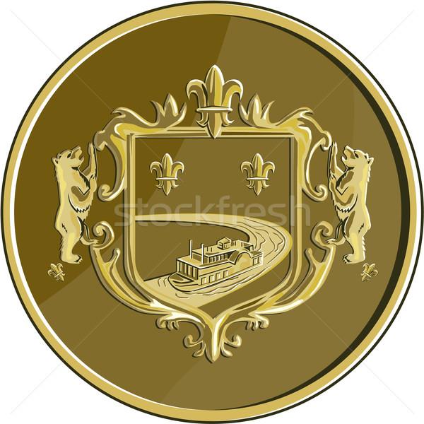 Steamboat Fleur De Lis Coat of Arms Medal Retro Stock photo © patrimonio